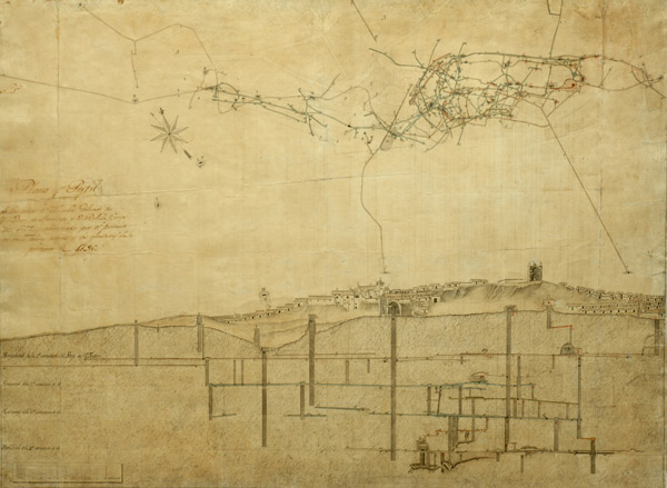 Mine,map and profile. 1796. Historical Almadén Mines Archive.